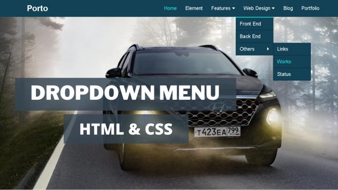 dropdown menu in html css